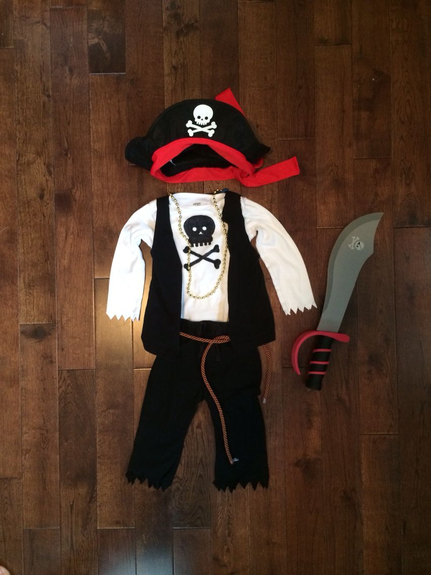 Baby/Toddler DIY Pirate costume Hat & sword $2 each from target, belt from the fabric store, gold necklace from the dollar store, clothing from the second hand store & permanent marker used to draw the skull onto his shirt. #diypiratecostumeforkids Baby/Toddler DIY Pirate costume Hat & sword $2 each from target, belt from the fabric store, gold necklace from the dollar store, clothing from the second hand store & permanent marker used to draw the skull onto his shirt. #diypiratecostumeforkids