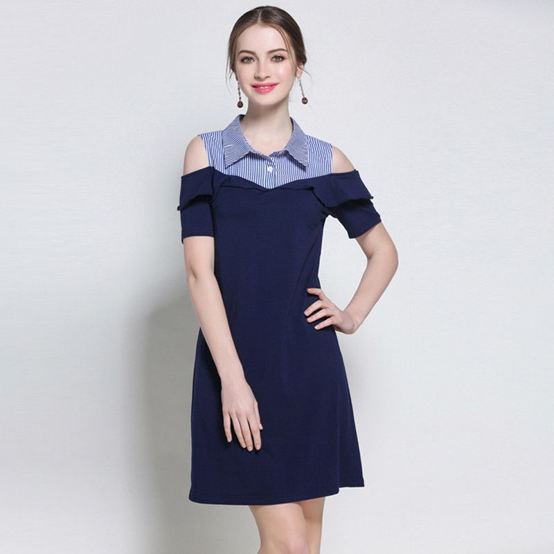 Plus Size Royal Blus Hole Shoulder Ruffle Bodycon Dress in