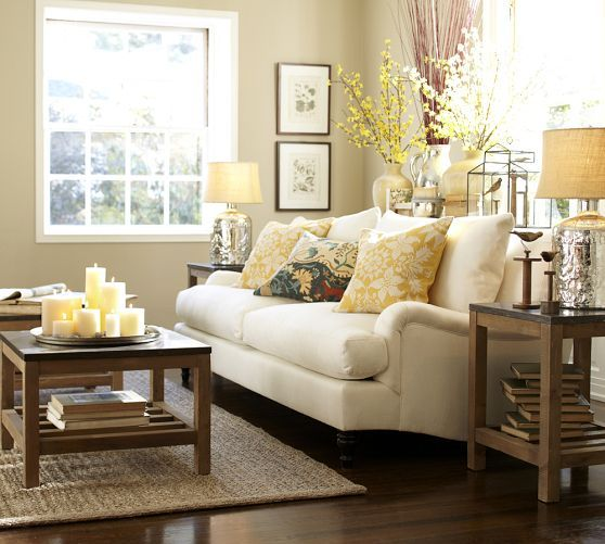 I like the scoop arms. Not a loungy couch though, because of their low profile. Nice turned legs. Carlisle Upholstered Sofa | Pottery Barn