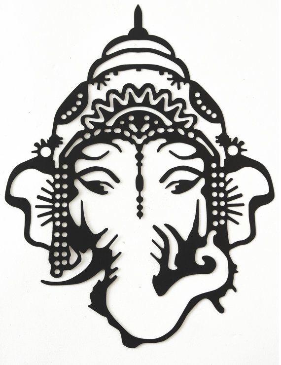 Hand Drawn Amp Laser Cut Metal Wall Art Ganesh Head By