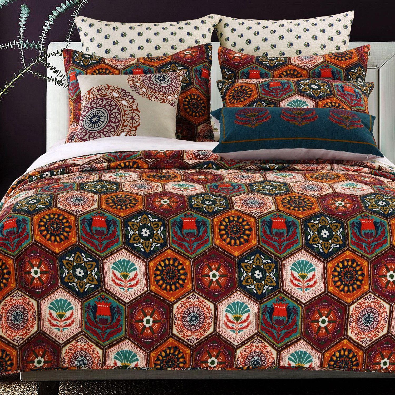 Boho Moroccan Geometric Earth Tones Cotton Quit Shams Set