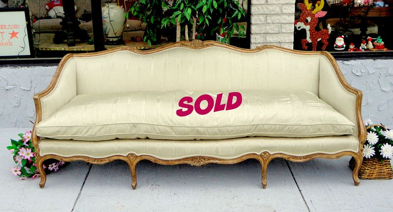 Vintage Ultra Premium Goose Down French Provincial Queen Anne Sofa In Like New Condition Beautiful Taupe Striped Upholstery Furniture Used Office Furniture