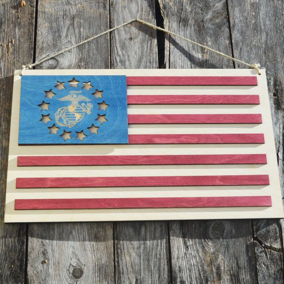 Wooden American Marine Corps Flag Hanging Wall Decor Door Hanger Wooden American Flag Hanging Wall Decor American Flag