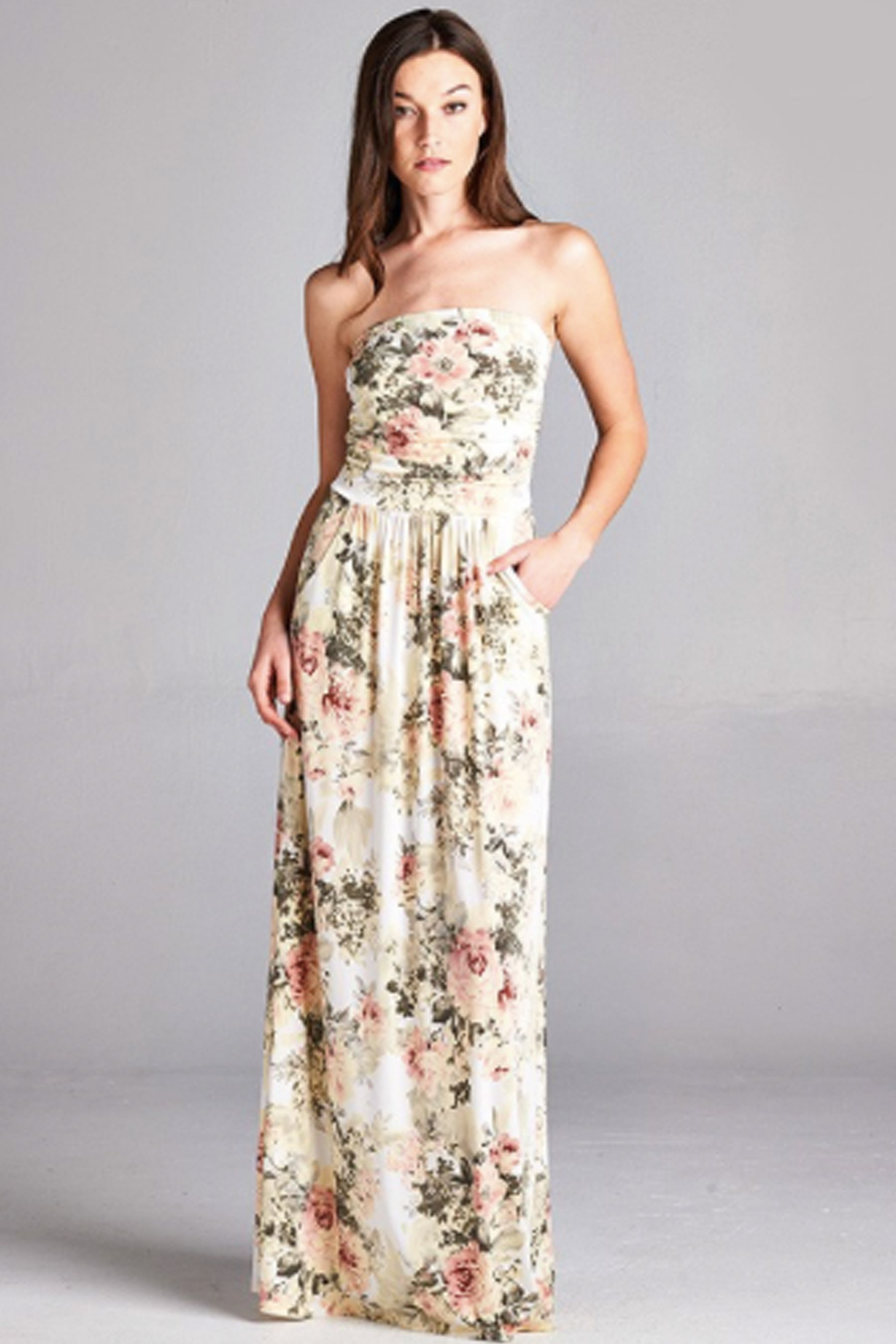 35ced1a9ca Strapless Gown · It's not your Grandma's 'antique roses' type of floral  dress! This pretty ivory