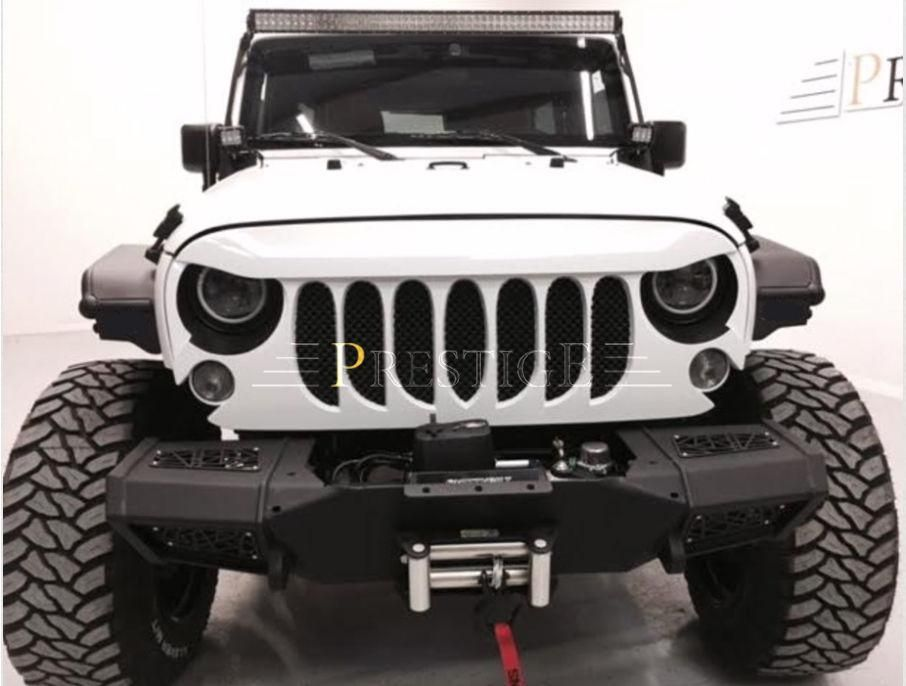 Beast Grille Front Matte Black With Built In Mesh For Jeep