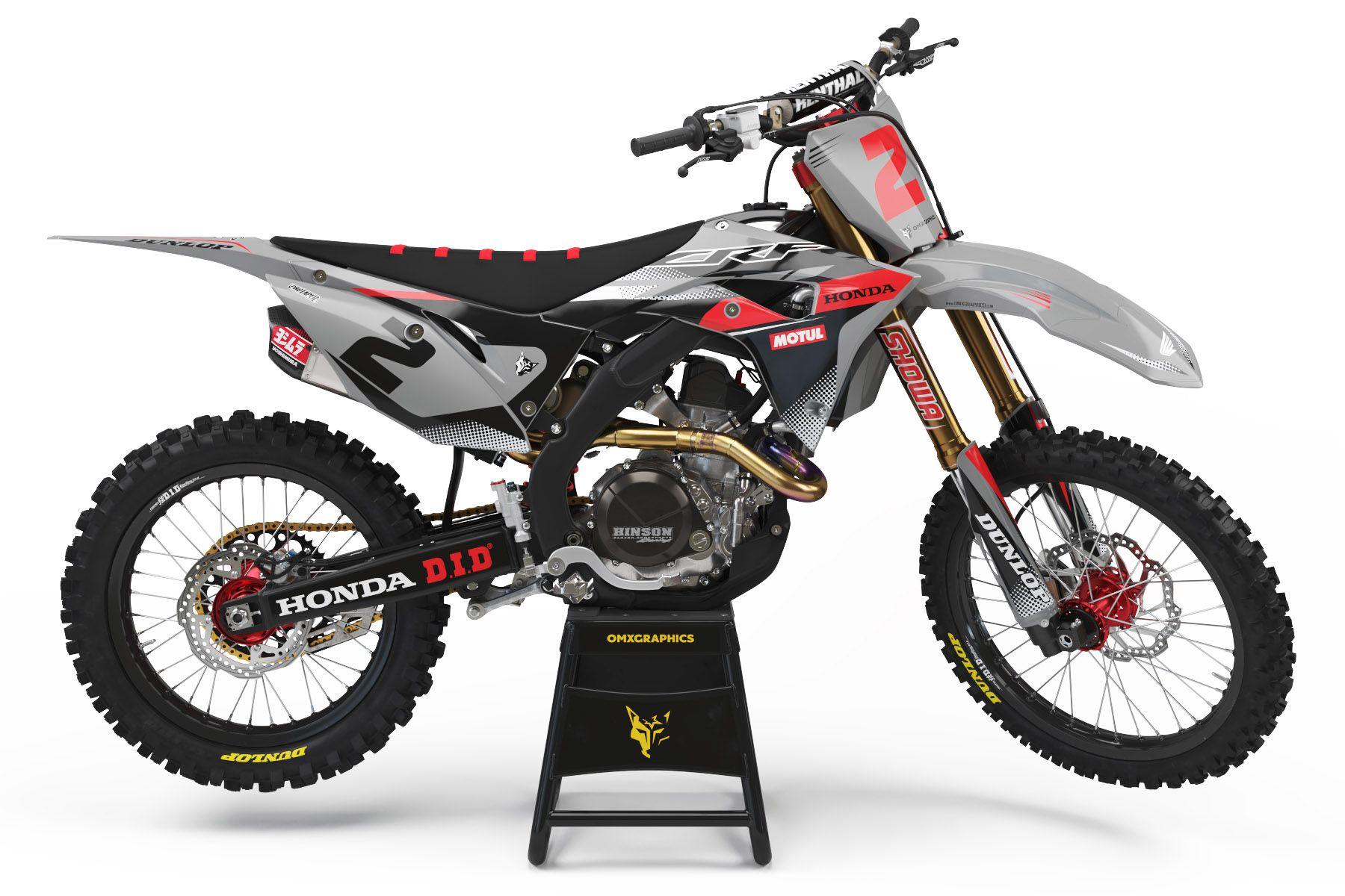Honda Mx Graphics Prime Grey In 2020 Honda Dirt Bike Motocross Honda