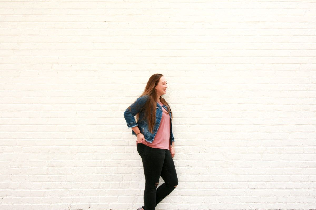 Pink dress with jean jacket  Rebecca ethical blogger and traveler behind Maiden Will Voyage