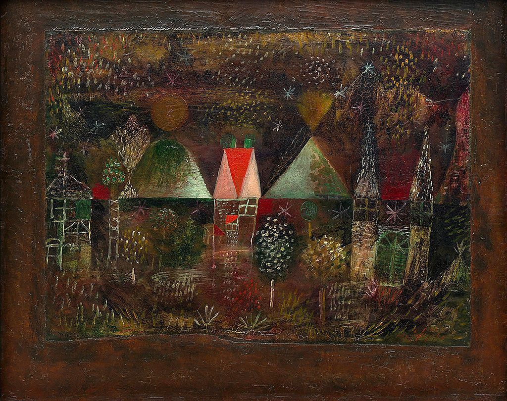Klee, 1921. Oil on paper, mounted on cardboard painted with oil, mounted on board. 36,9 x 49,8 cm. Solomon R. Guggenheim Museum, New York. 73.2054.