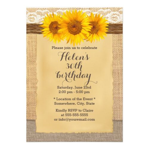 country sunflowers laced burlap birthday party invitation