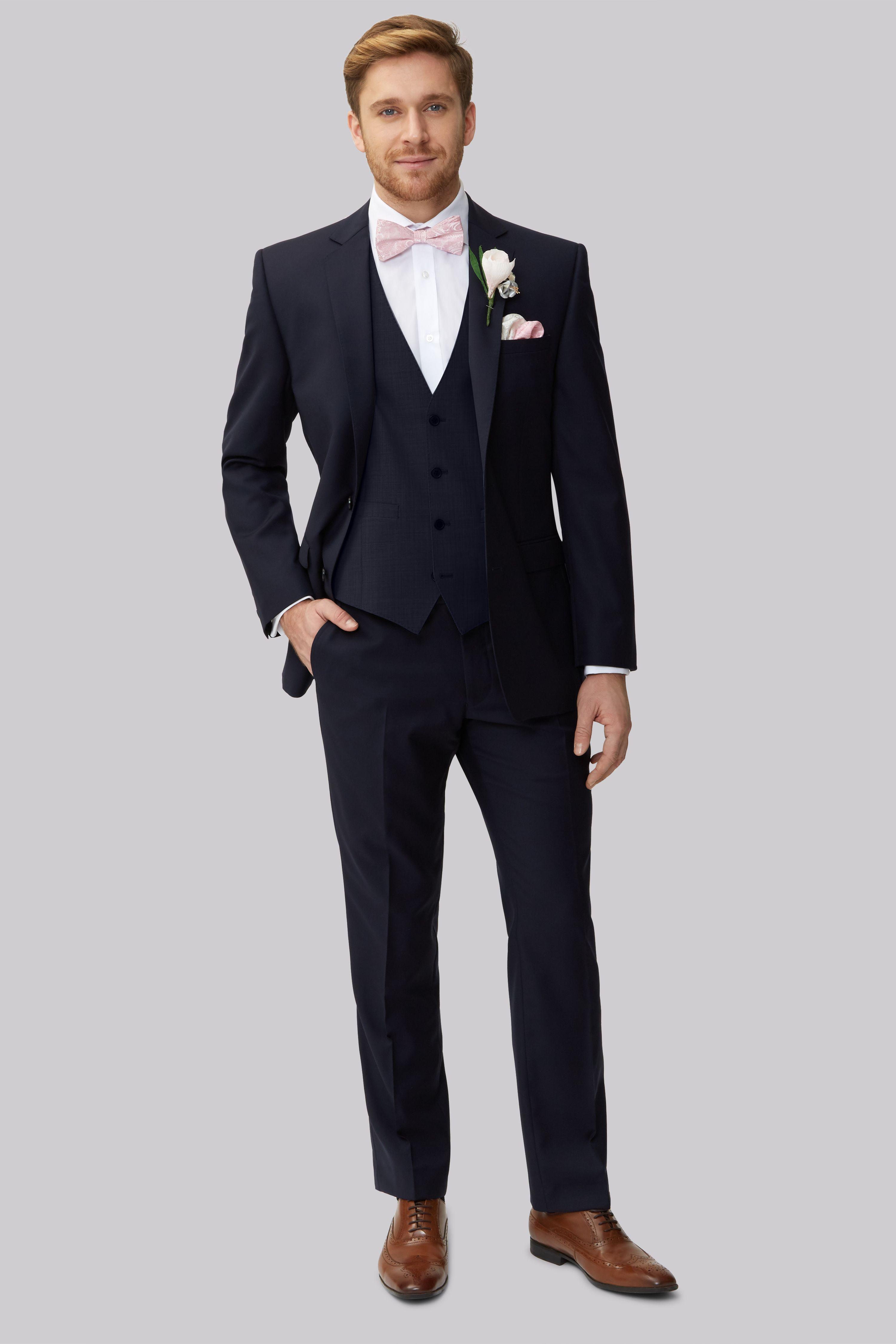 Moss 1851 Navy Blue Lounge Suit Wedding suits men