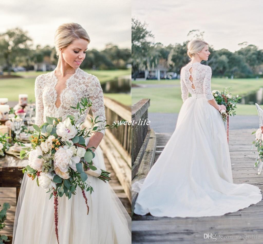 Modest 3/4 Long Sleeve Tulle Wedding Dresses Open Back Vintage Lace ...