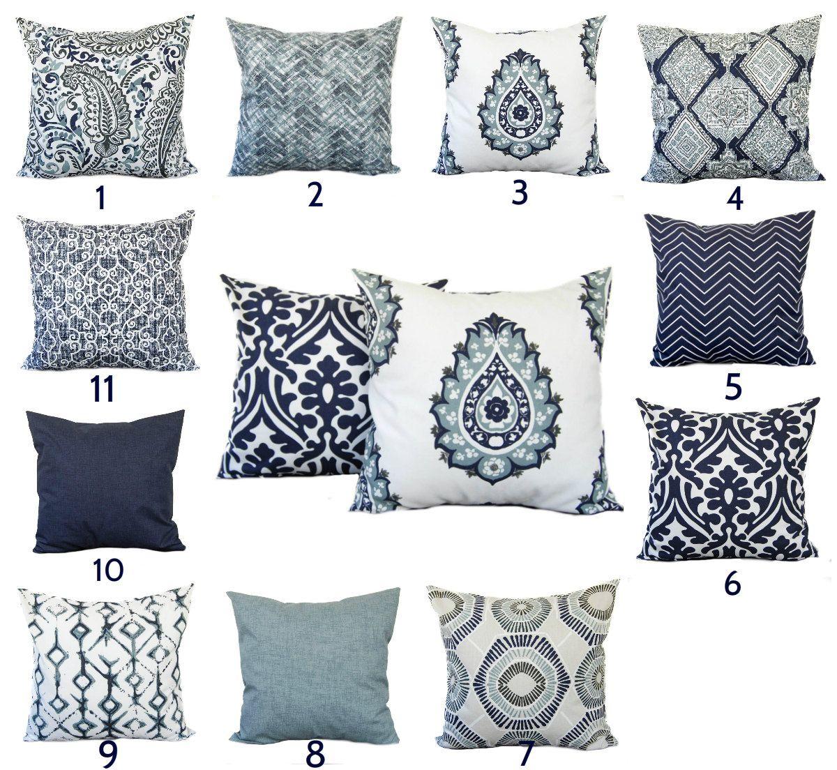 Indigo Blue Navy Gray White Pillow Throw Pillow Pillow Home Etsy Blue Throw Pillows Blue Accent Pillow Blue Pillows