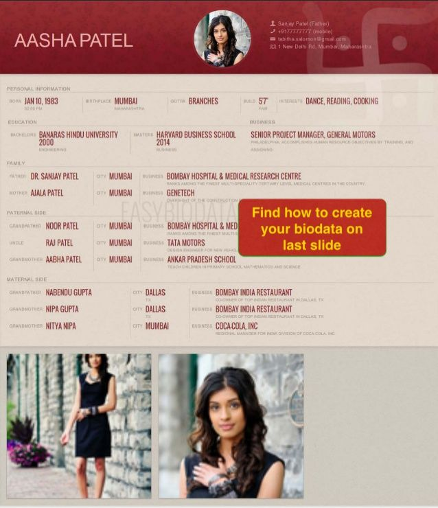 Biodata For Marriage (example)