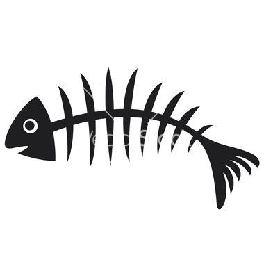 Black Fish Bone Vector Image On Vectorstock Fish Skeleton Fish Bone Tattoo Fish Bone
