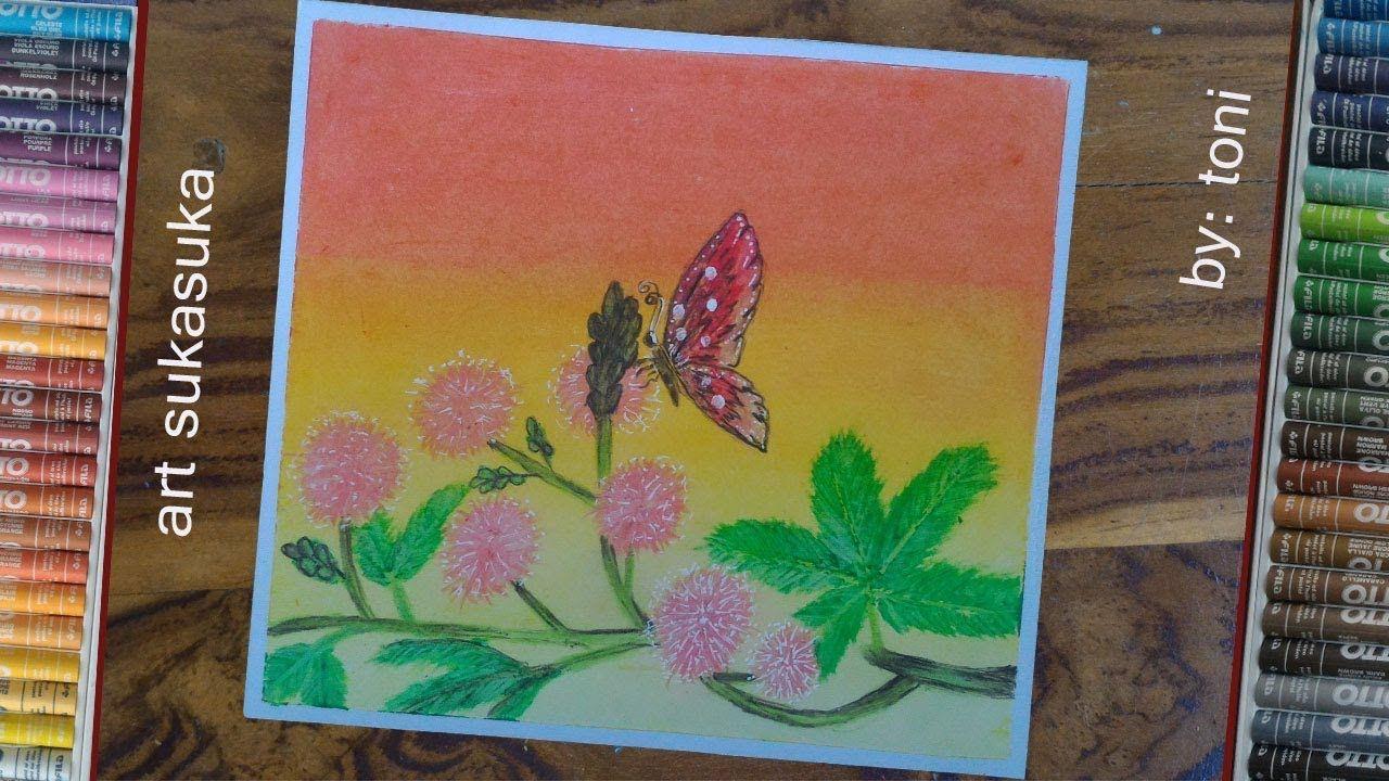 Cara Menggambar Mudah Dan Gampang Menggunakan Crayon Gambar Kupu Dan Bun Cara Menggambar Gambar Seni