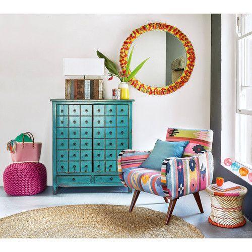 Fauteuil En Tressage Kilim Multicolore Et Manguier Meuble A Tiroir Fauteuil Maison Du Monde Idees De Decor