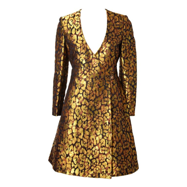 79effcccfd1 Valentino Gold Brocade Leopard Print Wrap Dress | 1stdibs.com | My ...