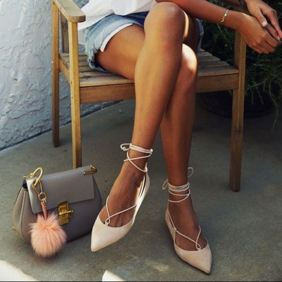 💢Sold Tradesy💢Taupe Pointed Lace Up