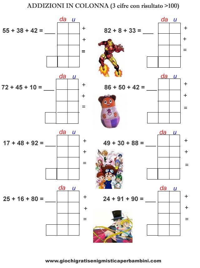 Schede didattiche di matematica addizioni in colonna con ...