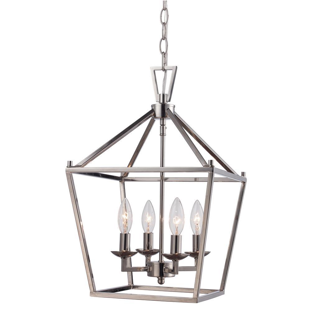 Bel air lighting 4lt polished chrome pendant bird cage