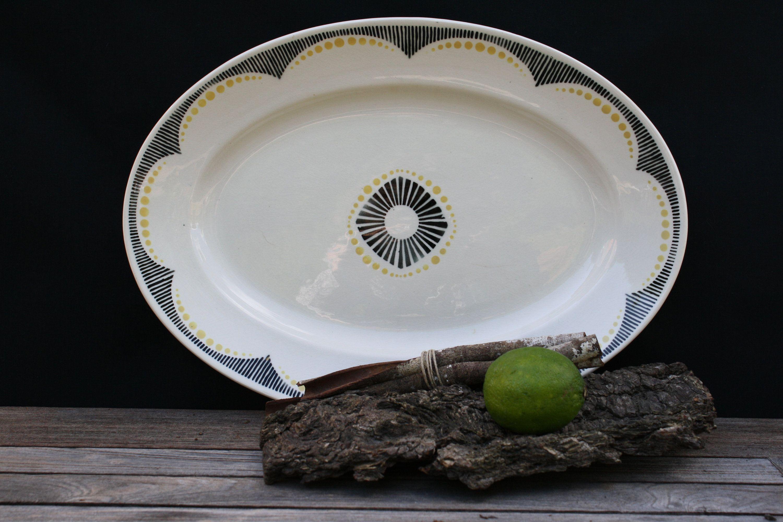 Fonkelnieuw Badonviller, Nikito, art deco serving plate, vintage large oval FV-36