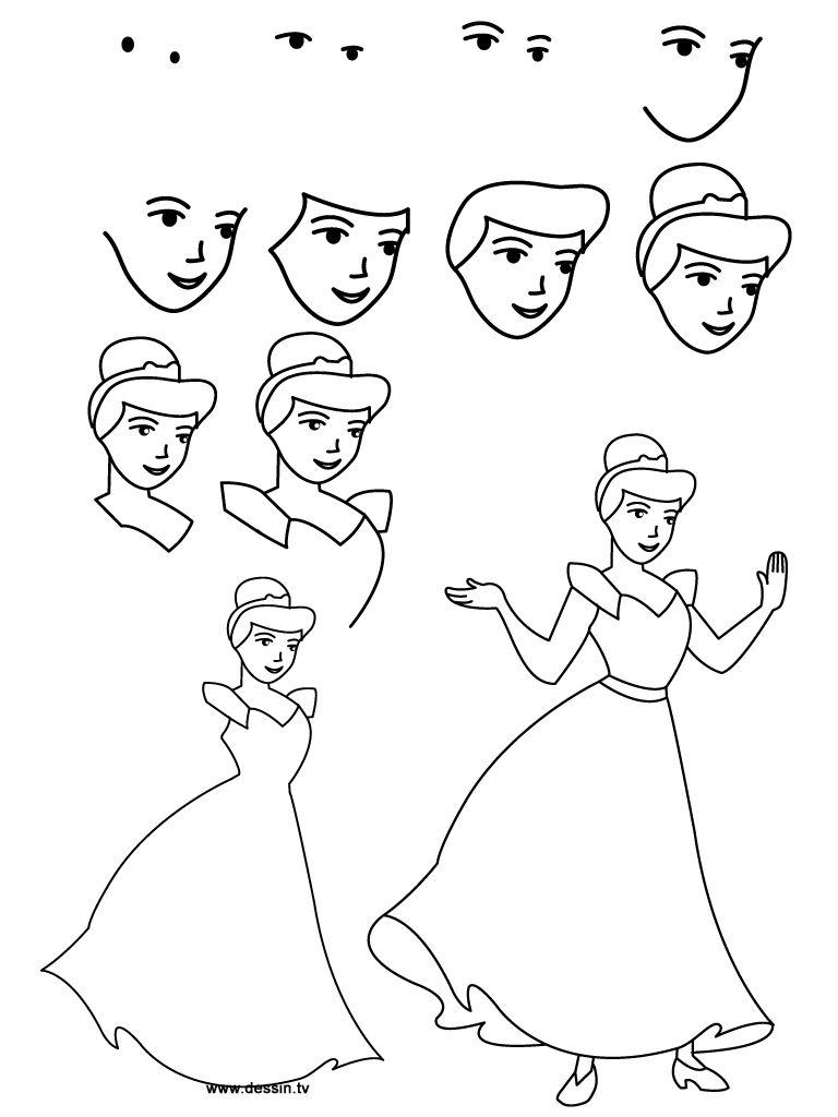 Easy cinderella princess drawing step by step free - Comment dessiner une princesse disney ...