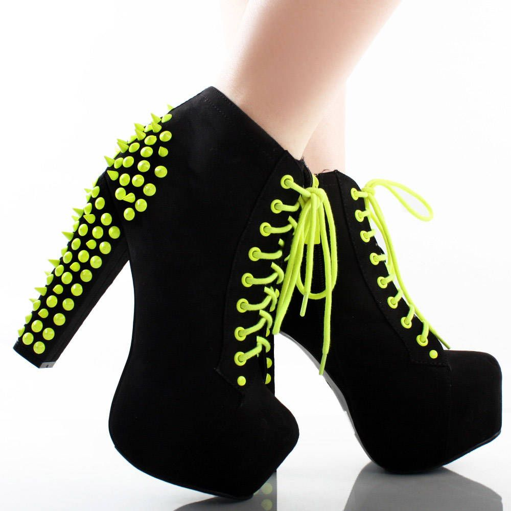 15232a4f9860  32.99 Black Neon Yellow Suede Spike Studded Platform Chunky High Heel