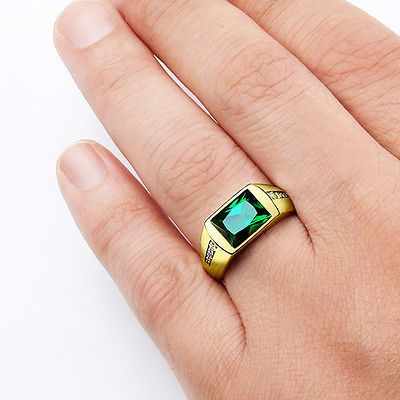 MENS SOLID 10K GOLD EMERALD RING 0 08ctw Natural Diamonds Fine
