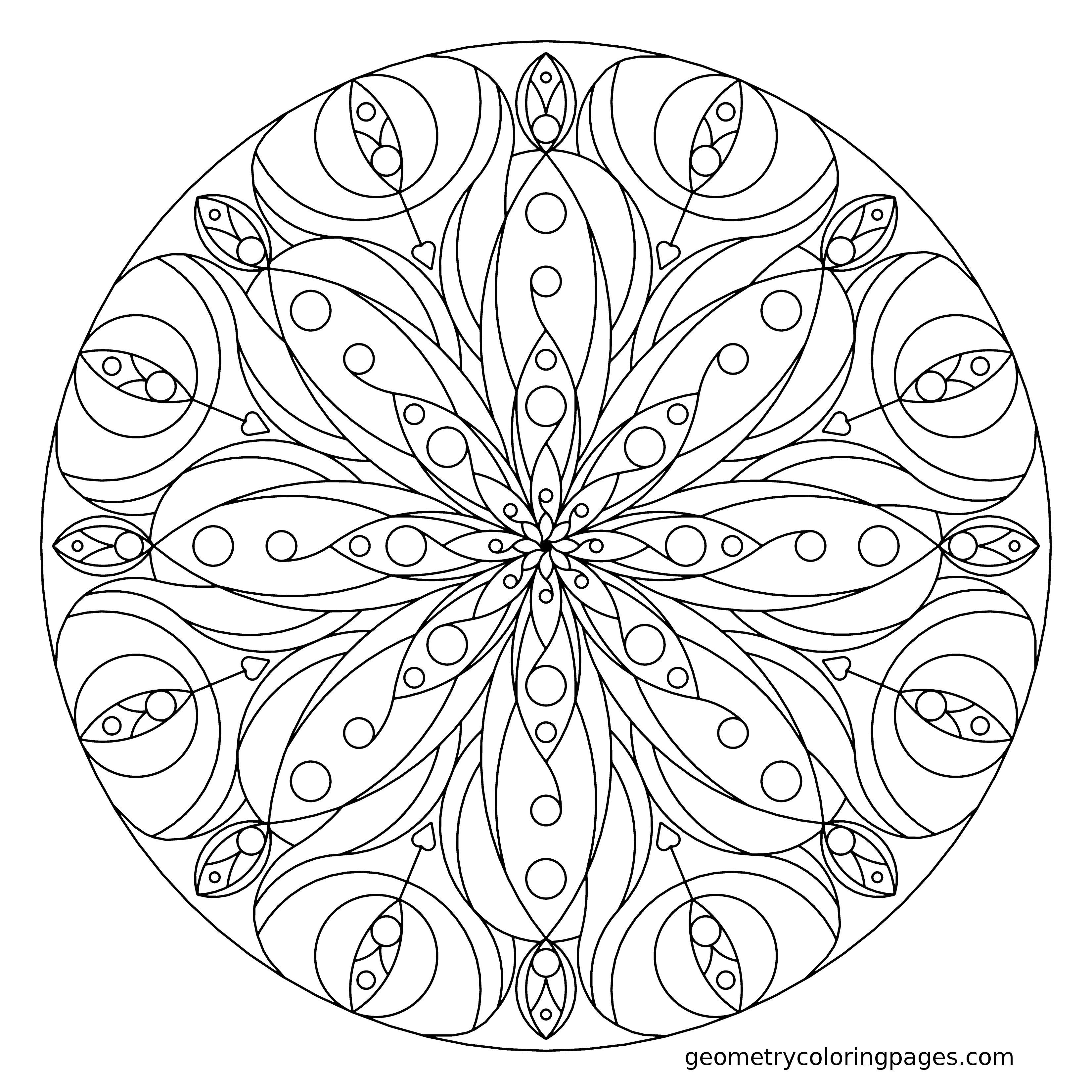 Heart Mandala Coloring Pages Geometry coloring pages | Mandalas ...