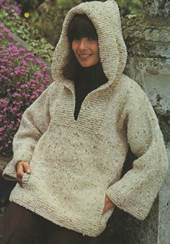 63efec0df Instant Download PDF Vintage Row by Row Knitting Pattern to make Ladies  Oversize Baggy Hooded Aran