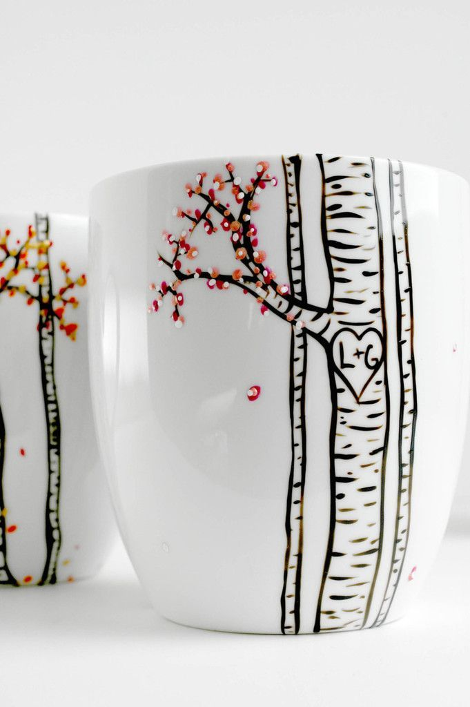 The Four Seasons Birch Tree Collection of Personalized Mugs #potterypainting