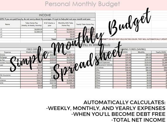 monthly budget spreadsheet with debt snowball calculator