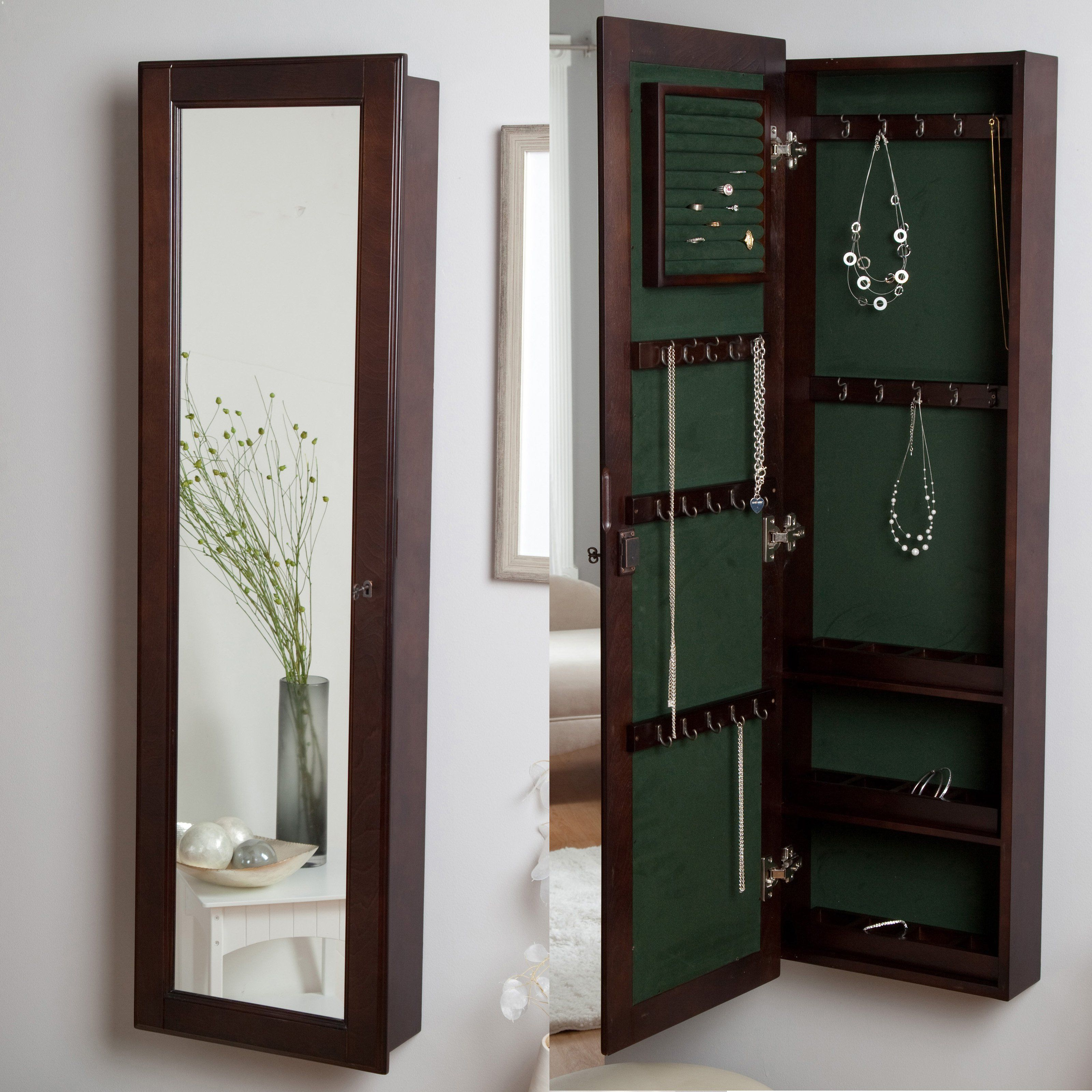Wall Mounted Locking Wooden Jewelry Armoire 14 5w X 50h In