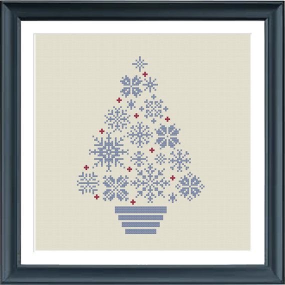 cross stitch christmas tree snowflakes, blue/grey and red, modern