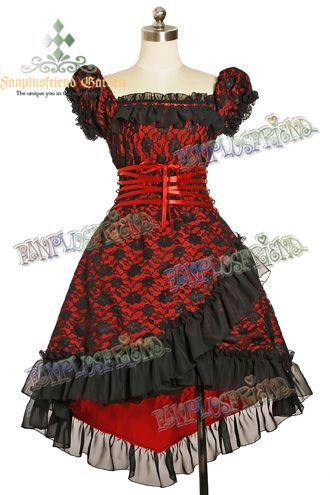 red black jumper skirt dress puffy sleeves lace ribbon