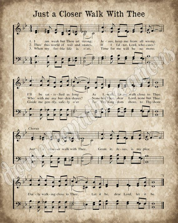 Just a Closer Walk With Thee Hymn Print, Printable Vintage Sheet Music, Instant Download, Antique Hymnal Page, Christian Art, Farm Decor