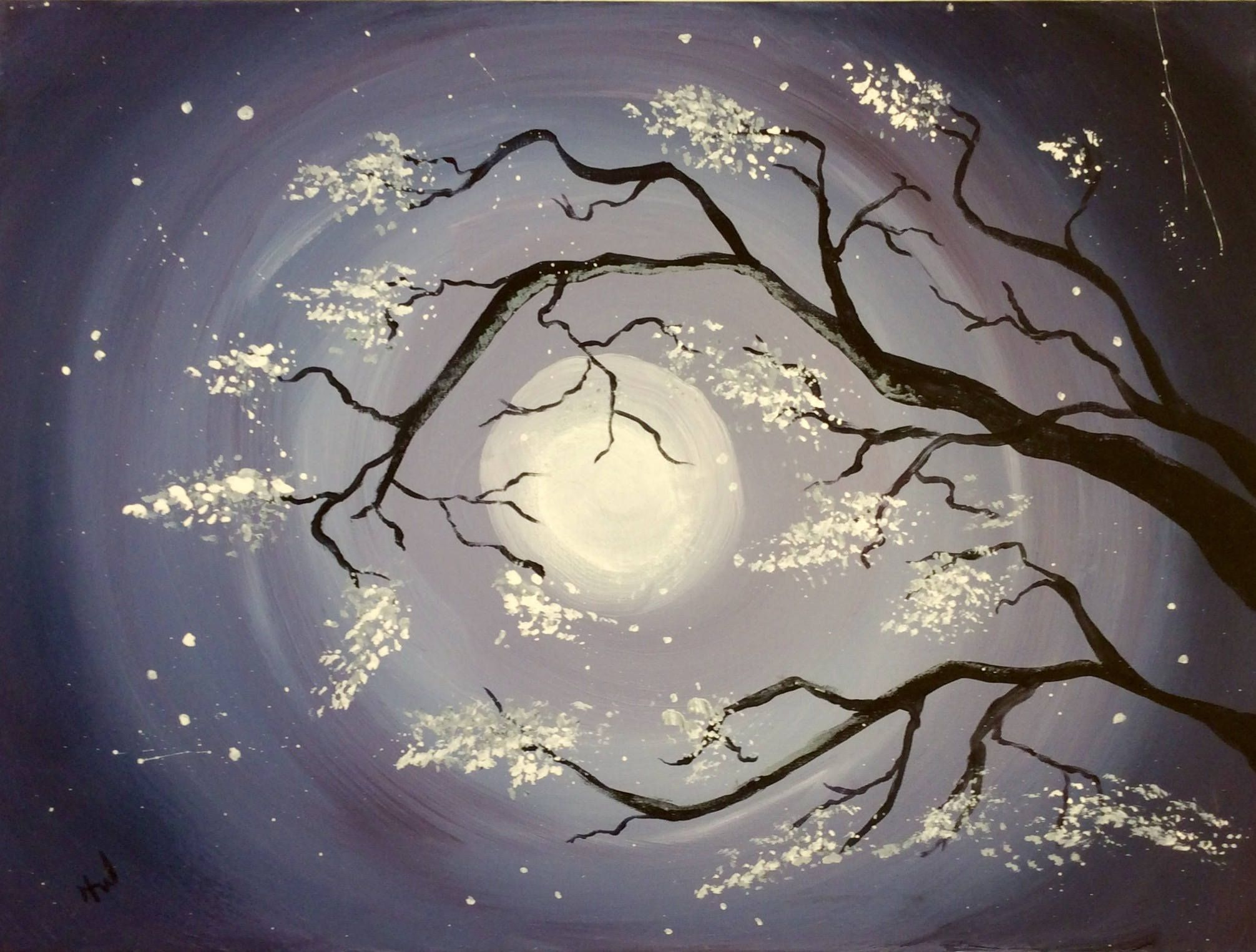 Original Acrylic Painting Midnight Orchard Featuring A View Through Blooming Cherry Blossom Tree Branches To A Vibr Painting Artwork Design Cherry Blossom Tree