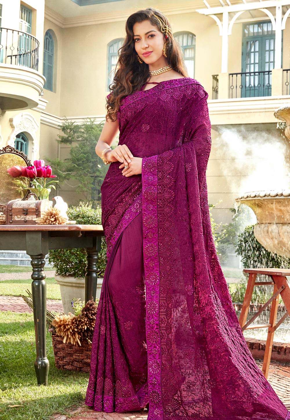 b83e11b3a0 Buy Purple Chiffon Embroidered Saree With Blouse 172652 with blouse online  at lowest price from vast