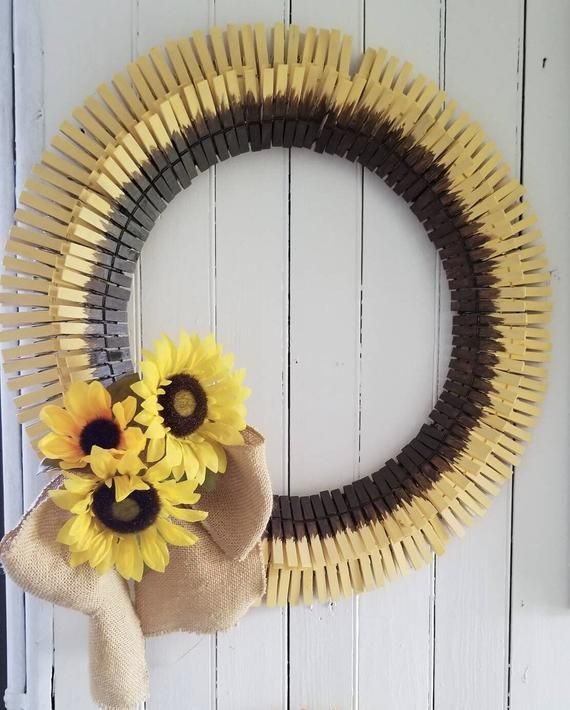Photo of Sunflower Wreath, Fall wreath, Yellow and Brown, Flowers, Outdoor Wreath, Front …,  #brown …