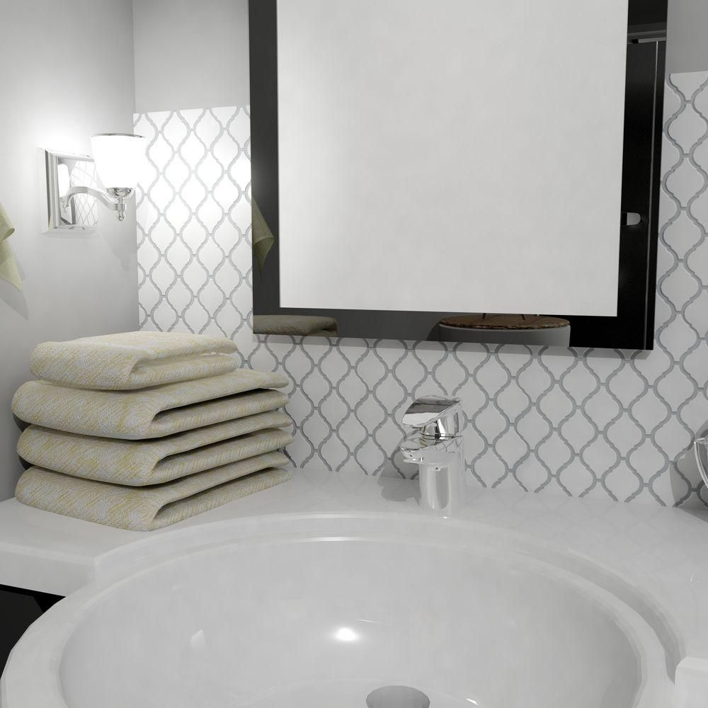 Merola Tile Arabesque Glossy White 9-7/8 in. x 11-1/8 in. x 6 mm ...