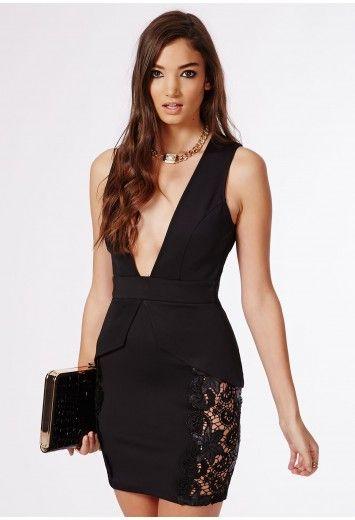 798df5227d23 Missguided - Aisha Crepe Side Lace Peplum Plunge Bodycon Dress Black ...