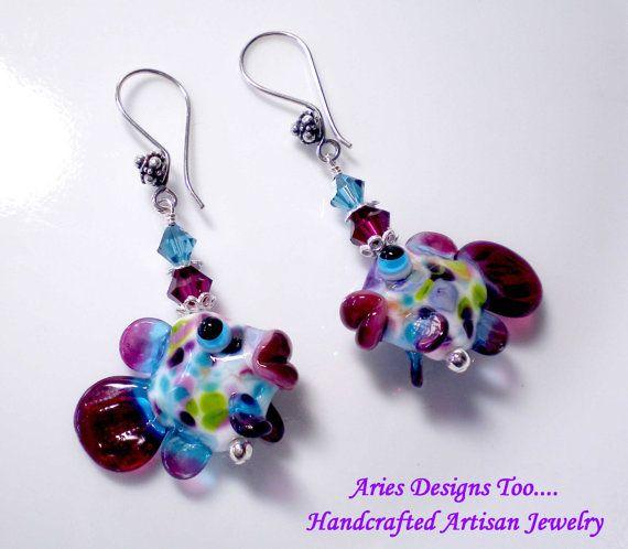 Kissing Fishies.....Lampwork Earrings in Ruby by ariesdesignstoo, $36.00