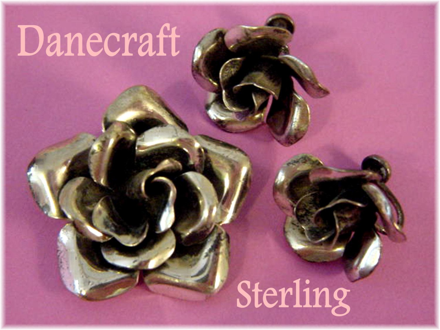 Danecraft Sterling Silver Blooming Rose Brooch Pin & Earrings Set - 24.10 Grams - Victorian Garden Flowers - Estate Antique - FREE SHIPPING