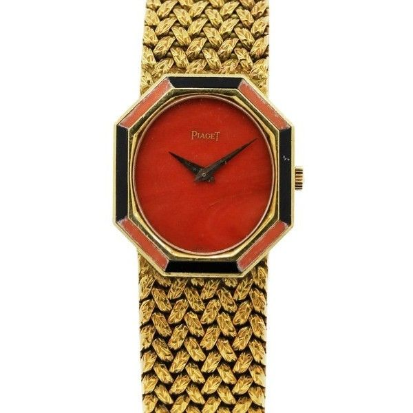 df88ad2b6f1 Pre-owned Piaget 18K Yellow Gold Coral   Onyx Vintage Ladies Watch ( 10