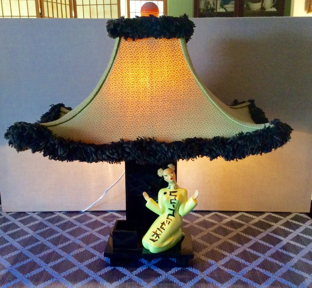 1940 S Moss Lamp W Chinese Lady On Lucite Base By Hedi Schoop Pagoda Shade Rare Lamp Pagoda Shades