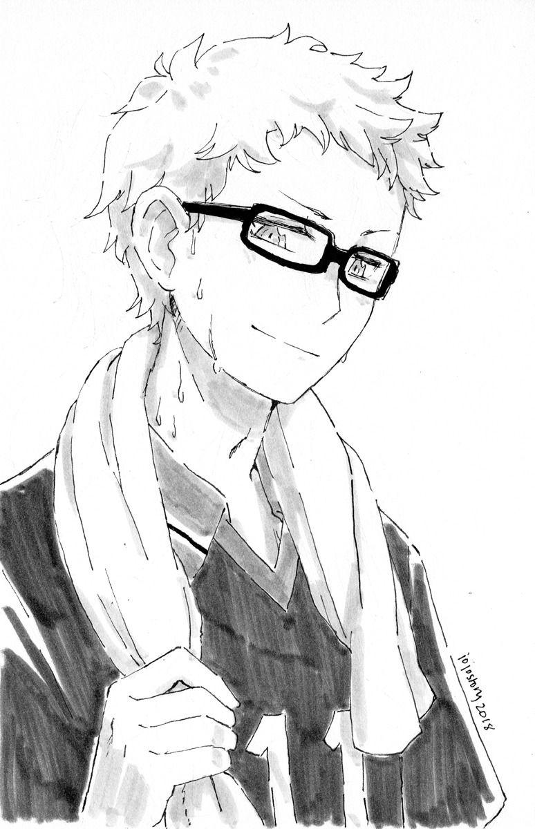 Inktober Haikyuu Tsukishimakei Karasuno Haikyuu Anime Haikyuu Tsukishima Anime Sketch