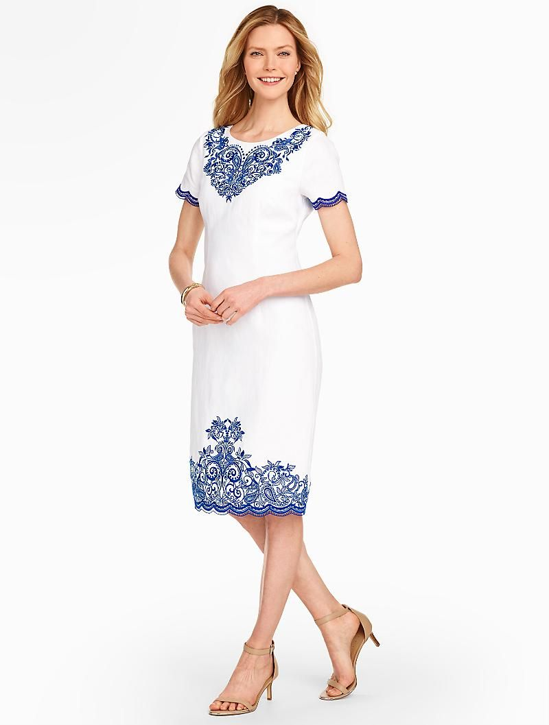 Embroidered Linen Sheath - Talbots