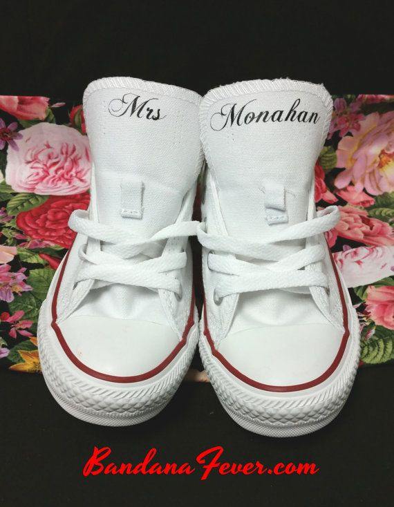 01dad91da17b Custom Wedding Converse Chuck Taylor Low White - Small Formatted Font Personalized  Mrs. Wedding Shoes