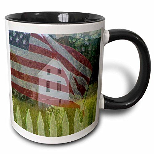 3dRose mug_44039_4 Old Historical LDS Church in Pine Valley Utah with a faded American Flag and Picket Fence Two Tone Black Mug 11 oz BlackWhite * Learn more by visiting the image link.