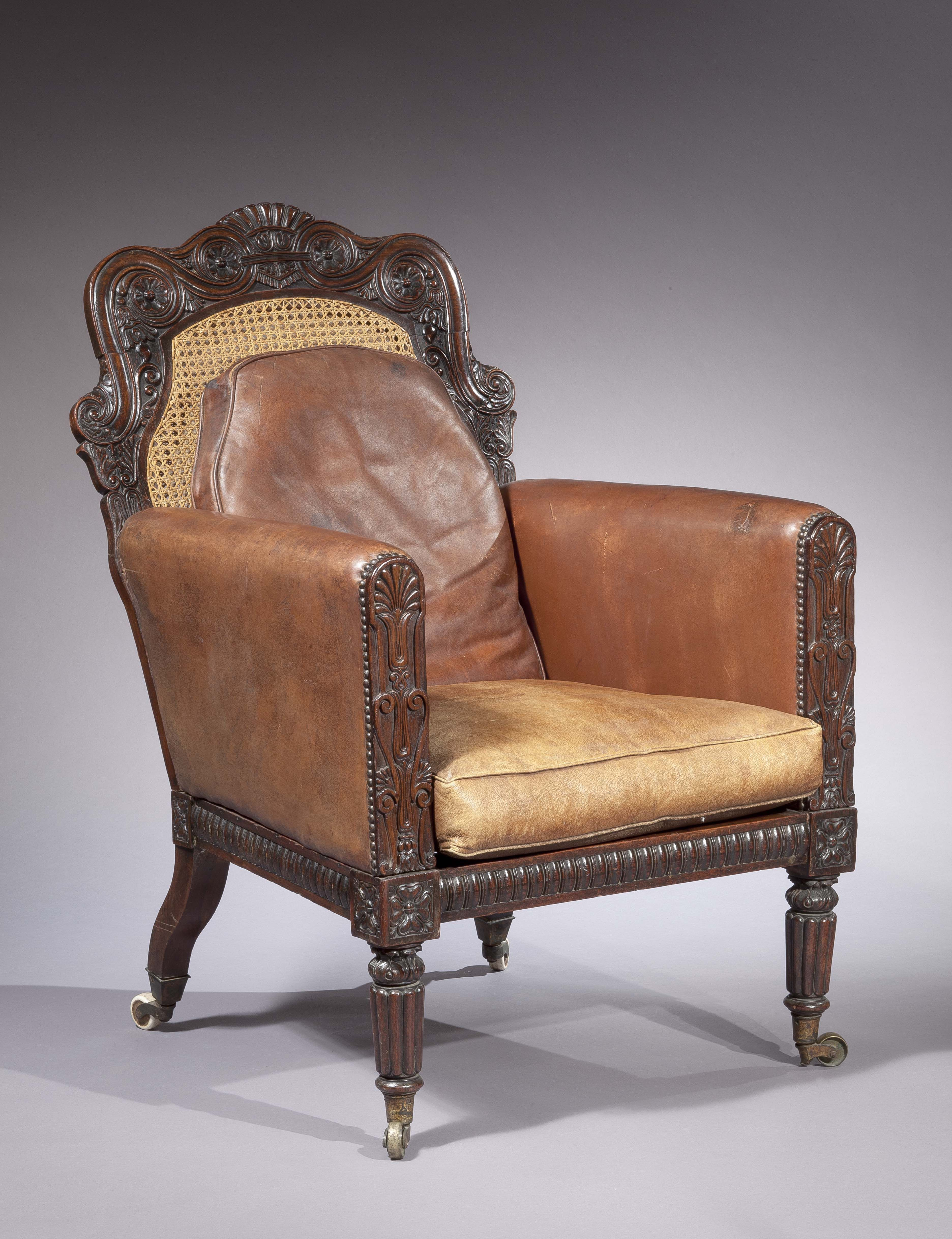 An AngloIndian Rosewood, Caned, Leatherupholstered